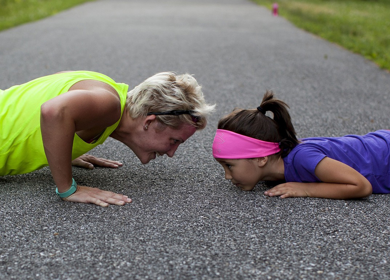 Workout mother and child